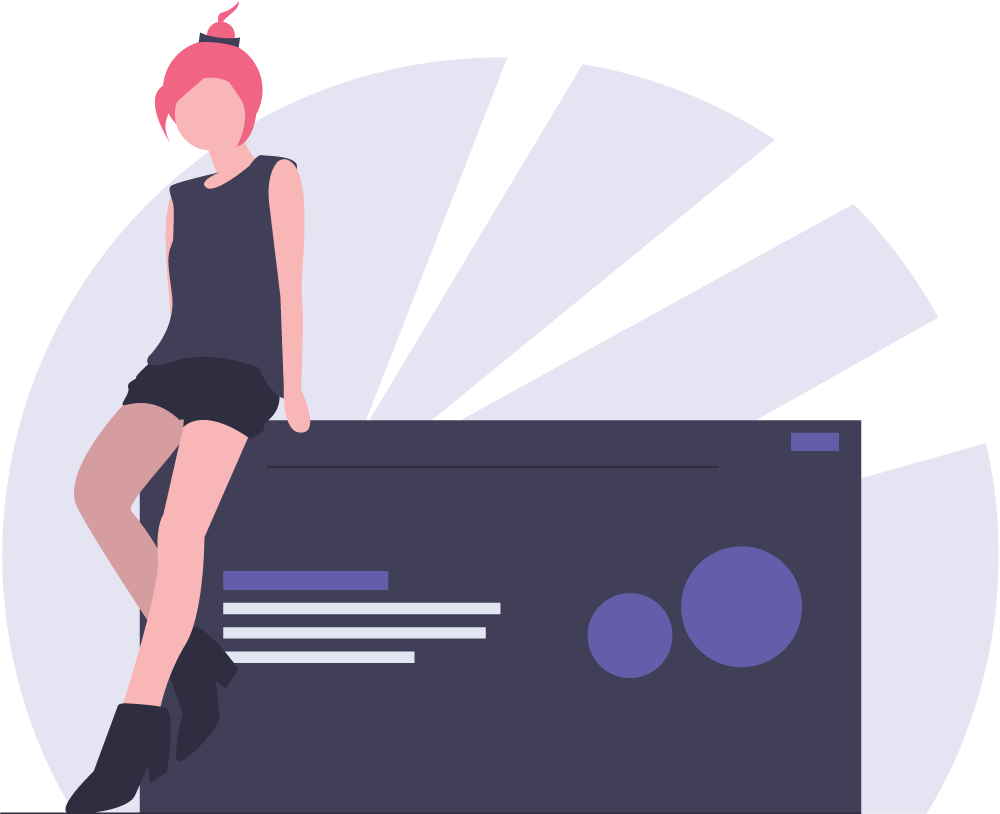 Элемент сайт девушка у стола