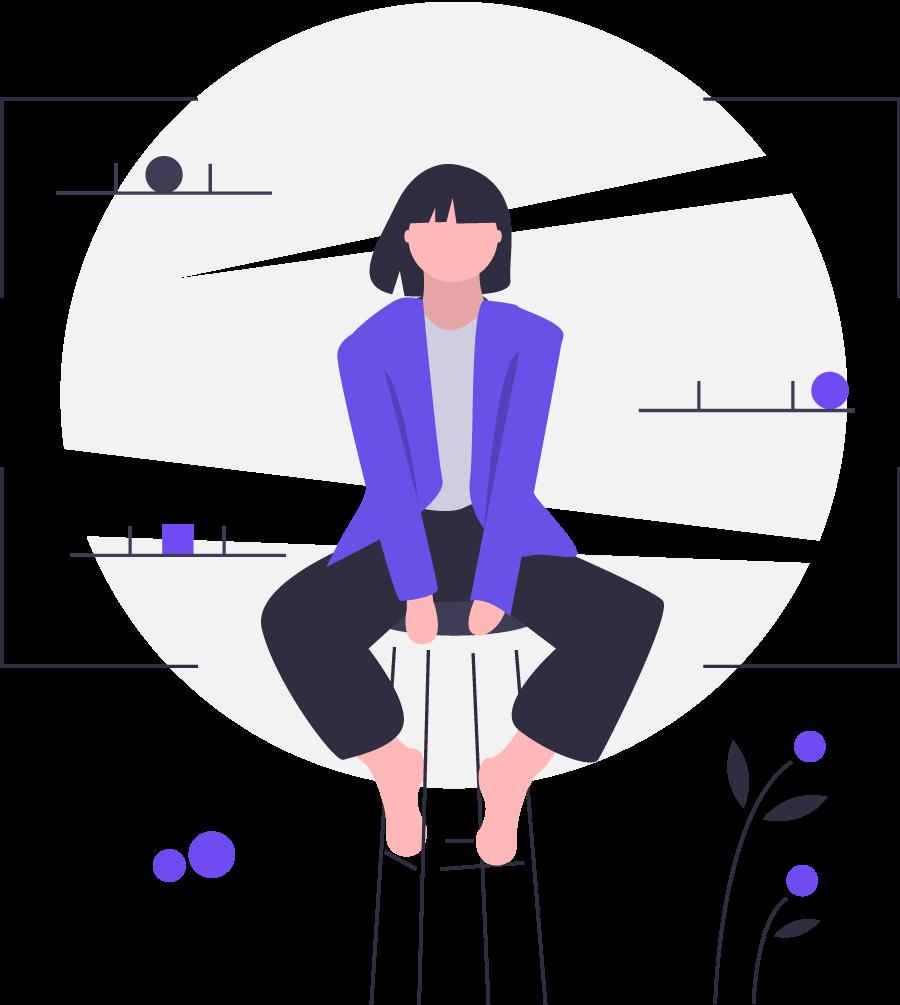 Элемент сайт. Девушка на стуле.
